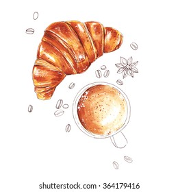 Breakfast with coffee and croissant, hand drawn illustration