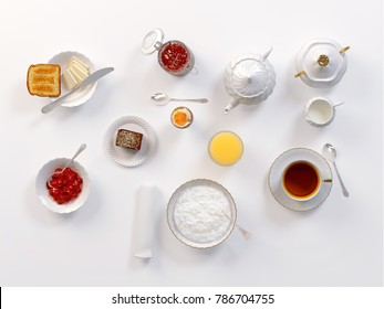Breakfast with lemon tea, toasts, butter, egg, juice, jam and rice porridge isolated on white table, top view. 3D illustration