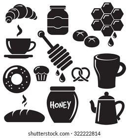 Breakfast with muffins, cakes, hot tea and honey. Icon set.