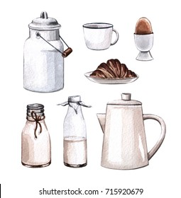 Breakfast set.  Watercolor hand painted illustration