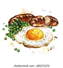 Breakfast.  Watercolor Illustration.
