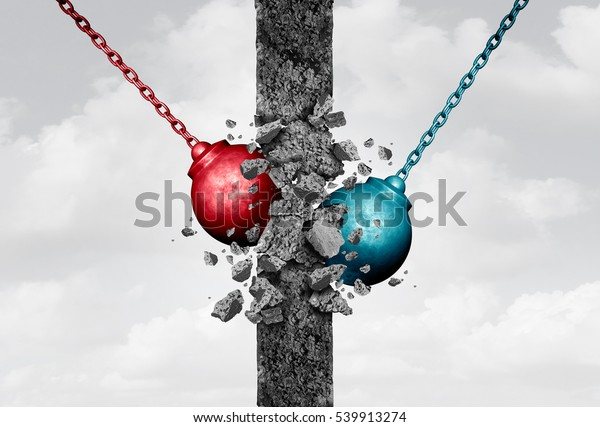 Breaking down walls together with two heavy wrecking ball equipment destroying a solid obstacle as a bipartisan team agreement and relationship barriers symbol with 3D illustration elements.