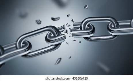 Breaking metal chain, concept of freedom image, 3D realistic design
