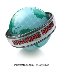 Breaking News Globe in 3D including clipping path in the design of information related to the achievement of business goals. 3d illustration