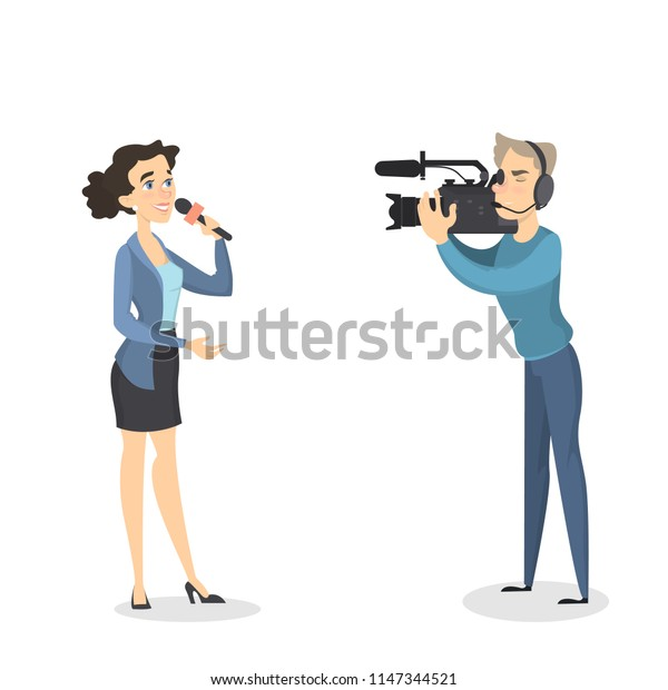 Breaking news illustration. News reporter with camera man.