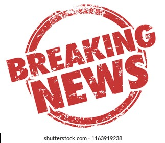 Breaking News Latest Updates Announcements Stamp Illustration