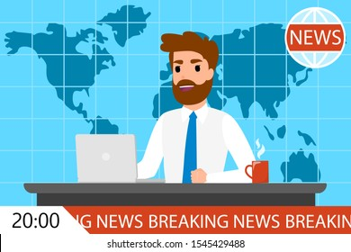 Breaking news man on TV. Male newscaster on screen. Television program. Flat  illustration