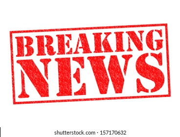 BREAKING NEWS Rubber Stamp over a white background.