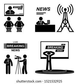 Breaking news stick figure illustration icon pictogram. Journalist, camera man, speaker, tv presenter silhouette on white background