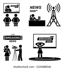 Breaking news woman stick figure illustration icon pictogram. Journalist, camera man, speaker, tv presenter silhouette on white background