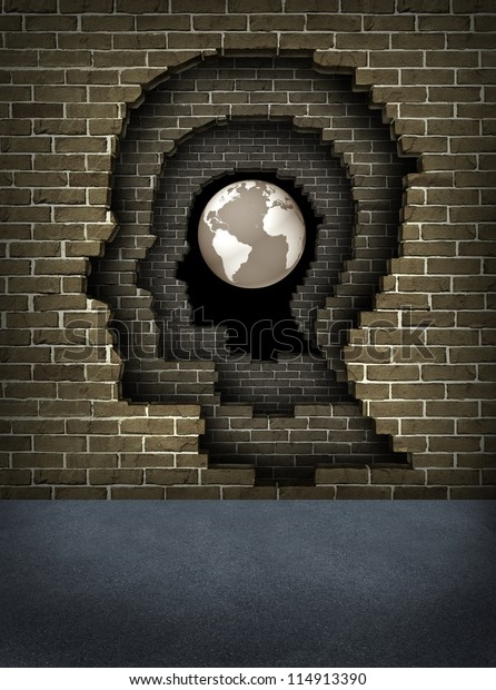 Breaking through obstacles to success with broken brick walls shaped as a human head leading to a globe of the earth as a business and life concept of achievement and career goals focus.