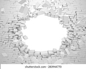breaking wall brick 3d image
