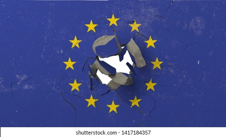 Breaking wall with painted flag of EU. European Union crisis conceptual editorial 3D rendering