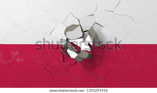 Breaking wall with painted flag of Poland. Polish crisis conceptual editorial 3D rendering