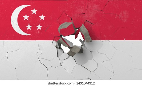Breaking wall with painted flag of Singapore. Singaporean crisis conceptual editorial 3D rendering
