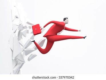 Breakthrough. Business concept illustration. Manager breaking the wall