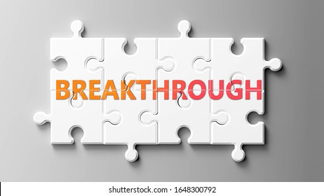 Breakthrough complex like a puzzle - pictured as word Breakthrough on a puzzle pieces to show that Breakthrough can be difficult and needs cooperating pieces that fit together, 3d illustration