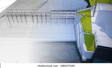 Breakwater, dam, 3d illustration