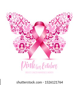 Breast cancer awareness with Butterfly sign and pink ribbons illustration design poster layout.