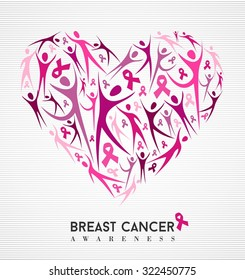 Breast cancer awareness campaign family love design of heart made with pink ribbon elements and silhouettes background.