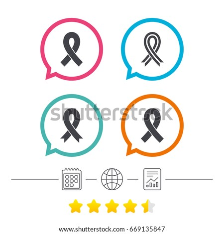 Breast Cancer Awareness Icons Ribbon Sign Stock Illustration