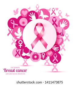 1ab6108e0e8c Breast cancer illustration of pink icons with realistic symbol ribbon.