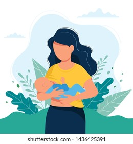 Breastfeeding illustration, mother feeding a baby with breast, leaves background. Concept illustration in cartoon style.