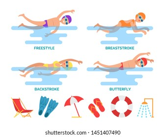 Breaststroke and backstroke, freestyle and butterfly swimming styles set. Sportive people and icons of umbrella, flippers and shower flip-flops raster