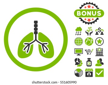 Breathe System icon with bonus design elements. Glyph illustration style is flat iconic bicolor symbols, eco green and gray colors, white background.