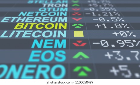 A breathtaking 3d illustration of chancy crypto currency market indicators of  Ethereum, Bitcoin, EOS with colorful numbers, arrows, pluses and minuses, on a black screen put aslant