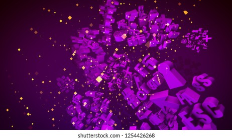 Breathtaking 3d illustration of revolting light violet computer signs such as arrow, key, stars, numbers, letters, grates, spirals,  clouds, pluses, with dashing yellow squares in the violet backdrop.