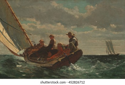 Breezing Up (A Fair Wind), by Winslow Homer, 1873-76, American painting, oil on canvas. A man, three boys, and their catch in a catboat chopping through water near Gloucester, Massachusetts