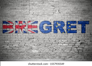 Bregret (Exit from Brexit) Graffiti on Brick Wall