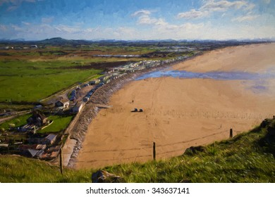 Brent Knoll and Brean beach from Brean Down in Somerset England UK illustration like oil painting