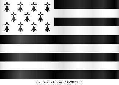 Breton black and white flag - flag of Brittany, France
