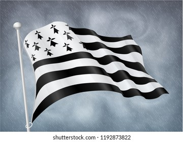 Breton flag on wind with rainy gray sky background