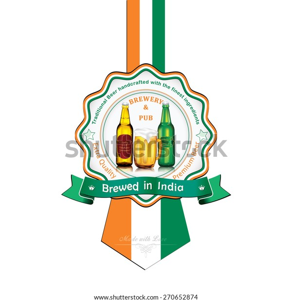 Brewed India Beer Sticker Advertising Pubsclubs Stock