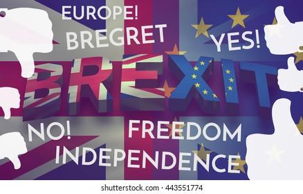 Brexit 3d render Theme Background bold font