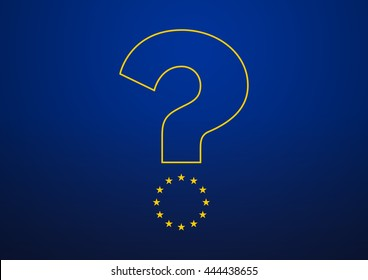 Brexit. Britain is deciding whether to leave EU after referendum. The European Union stars form the lower part of a question mark on whether UK is leaving or not.