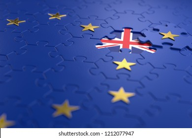 Brexit -  British exit from the European Union. The idea of a 'Brexit' represented via jigsaw puzzle. 3D rendering graphics.