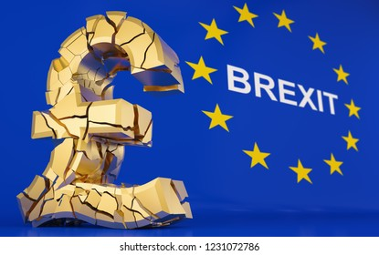 BREXIT - broken pound sign - european flag - 3D rendering