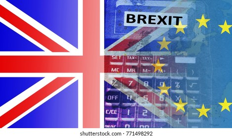 """Brexit -  A calculator shines through the English and European flags. In the display the word """"BREXIT""""."""