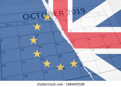 Brexit concept background with British Union Jack and European Union flags torn in half layered over October sheet of monthly calendar with exit deadline