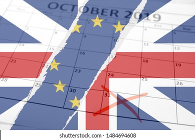 Brexit concept background with torn British Union Jack and European Union flags layered over October sheet of monthly calendar with exit deadline date October 31st marked with red cross