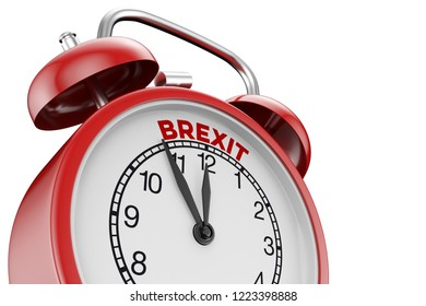 Brexit concept with closeup on red alarm clock standing on 5 to 12 (3D Rendering)