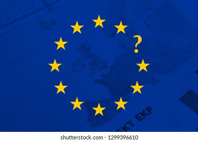Brexit concept. European union yellow stars with a question point.