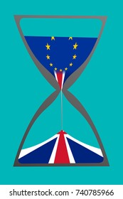 """Brexit "" concept illustrated by an hourglass with British (United Kingdom, UK) flag pouring down to the bottom chamber and European Union (EU) flag on the top chamber. The background colour is blue."