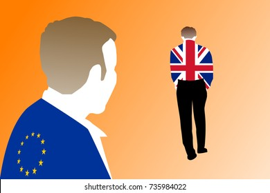 Brexit concept: An illustration of two men wearing flags of the European Union (EU) and the United Kingdom (UK) with the UK man walking away or exiting the conversation. Background is gradient orange.