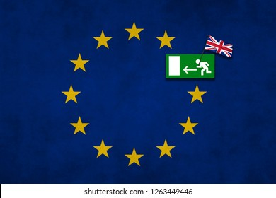 Brexit concept photo made with United Kingdom and European Union flag and sign for emergency exit