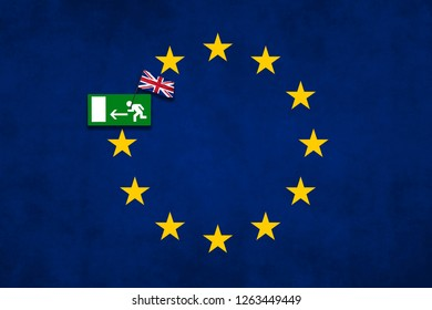Brexit concept photo made with United Kingdom flag and sign for emergency exit